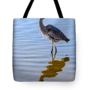Morning Reflections Of A Great Blue Heron Tote Bag