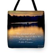 Morning River Run Tote Bag