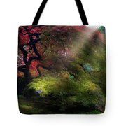 Morning Sun Rays On Old Japanese Maple Tree In Fall Tote Bag