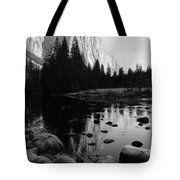 Morning Sunlight On El Cap - Black And White Tote Bag
