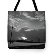 Morning Train In Black And White Tote Bag