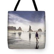 Morning Walk At The Beach Tote Bag
