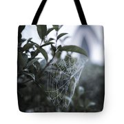Morning Web With Dew Tote Bag