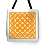 Moroccan Endless Circles I With Border In Tangerine Tote Bag