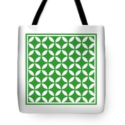 Moroccan Endless Circles II With Border In Dublin Green Tote Bag