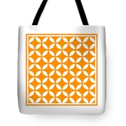 Moroccan Endless Circles II With Border In Tangerine Tote Bag