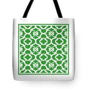Moroccan Floral Inspired With Border In Dublin Green Tote Bag