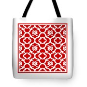 Moroccan Floral Inspired With Border In Red Tote Bag