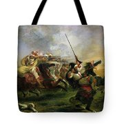 Moroccan Horsemen In Military Action Tote Bag by Ferdinand Victor Eugene Delacroix