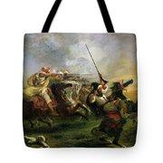 Moroccan Horsemen In Military Action Tote Bag by Ferdinand Victor Eugene Delacroix