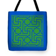 Moroccan Key With Border In Dublin Green Tote Bag