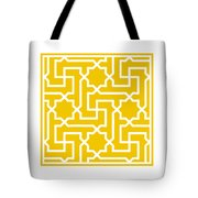 Moroccan Key With Border In Mustard Tote Bag