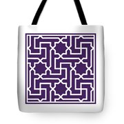 Moroccan Key With Border In Purple Tote Bag