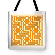 Moroccan Key With Border In Tangerine Tote Bag