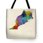 Morocco Watercolor Map Tote Bag by Michael Tompsett