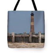 Morris Island Lighthouse Sea Wall Tote Bag