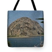 Morro Rock California Painting Tote Bag