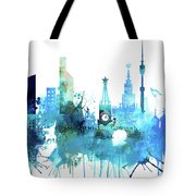Moscow, Russia, Watercolor In Blue Tote Bag