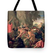 Moses Striking Water From The Rock Tote Bag by Nicolas  Poussin