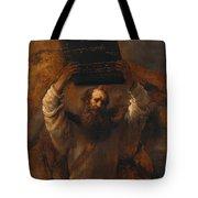 Moses With The Ten Commandments Tote Bag
