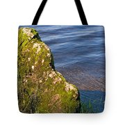 Moss Covered Rock And Ripples On The Water Tote Bag