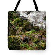 Mossy Rocks And Water Stream Tote Bag