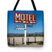 Motel Sign On I-40 And Old Route 66 Tote Bag