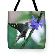Moth On Blue Flower Tote Bag