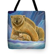 Mother And Baby Polar Bears Tote Bag
