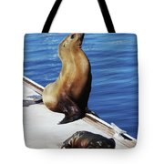 Mother And Baby Sea Lion At Oceanside  Tote Bag