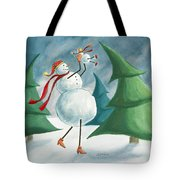 Mother And Baby Snowmen Tote Bag