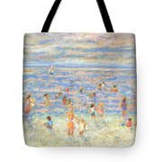 Mother And Child At The Beach Tote Bag