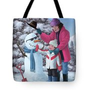 Mother And Child Building Snowman Tote Bag