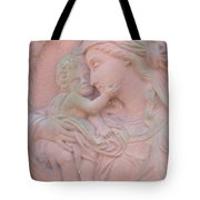 Mother And Child In Red Sandstone Tote Bag