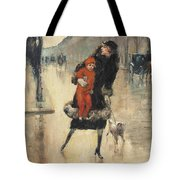 Mother And Child On A Street Crossing Tote Bag