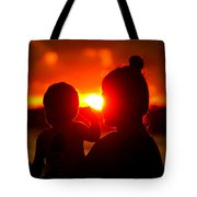 Mother And Child On Sunset Tote Bag
