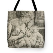 Mother And Child With Skull And Hourglass Tote Bag