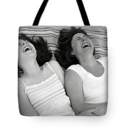 Mother And Daughter Laughing Tote Bag by Michelle Quance
