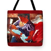 Mother And Newborn Child Tote Bag by Kathy Braud