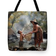 Mother And Son Are Happy With The Fish In The Natural Water Tote Bag