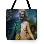 Mother And Son - Passing The Torch Of Vision Tote Bag