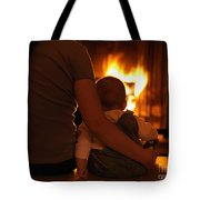 Mother And Son Sitting In Front Of A Firepalce Tote Bag