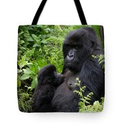 Mother And Suckling Baby Gorillas Tote Bag