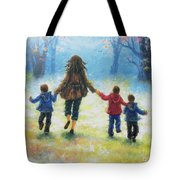 Mother And Three Sons  Tote Bag