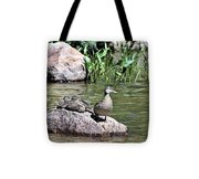 Mother Duck With Juveniles Tote Bag