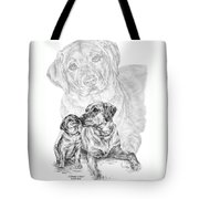 Mother Labrador Dog And Puppy Tote Bag