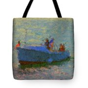 Motor Yacht At Spruce Point Boothbay Harbor Maine Tote Bag