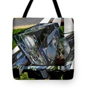Motorcycle And Park Bench As Art Tote Bag