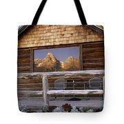 Moulton Ranch Cabin Reflection Grand Tetons Tote Bag