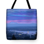 Mount Baker And Vancouver Bc At Dawn Tote Bag
